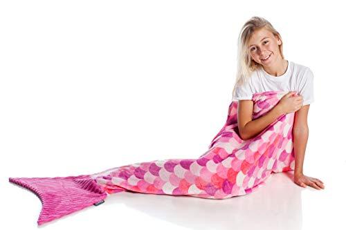 Kanguru la coperta con le maniche Kanguru Sirena Kids Meerjungfrau Decke Pinke, Polyester, Rosa, Fucsia, Lilla, L: 142 cm