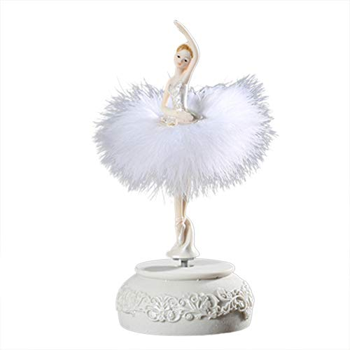 Glomixs Ballerina Music Box, Dancing Girl Swan Lake Carousel with Feather for Birthday Gift Musical Carousel Rotating Figurine Plays Tune Swan Lake
