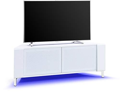 MDA Designs CORVUS Mobile moderno nero lucido ad angolo con profili laterali neri Porte in vetro BeamThru nero adatte per TV a schermo piatto fino a 50