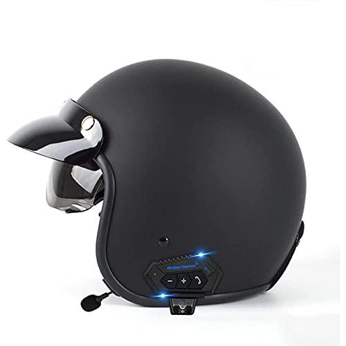 Bluetooth Integrado Medio Abierto Casco de Moto,Con Un Micrófono Incorporado Doble Visera,Casco Moto Scooter Jet para Mujer Hombre Adultos,ECE/DOT Homologado A,XL=61~62CM