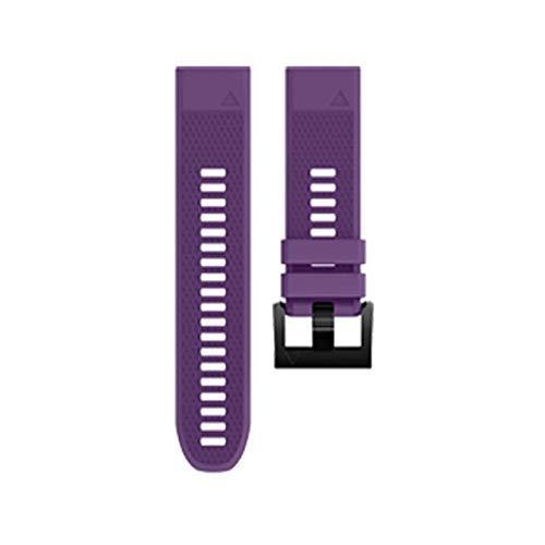 KTZAJO 2021 La última correa de silicona Crested 20/2/26 mm para reloj ForFenix 3/Forerunner 935/3 HR/5/5S Accesorios portátiles Pulsera de goma (color: morado, tamaño: 26 mm)