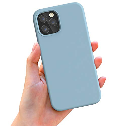 Anyos Compatible with iPhone 12 Case and iPhone 12 Pro Case 6.1 inch, Liquid Silicone Rubber Full Body Protective Phone Case with Soft Microfiber Cloth Lining for Women Men Girls Boys, Light Blue