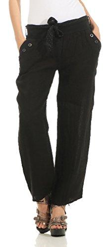 Mississhop 269 Damen Leinenhose Freizeithose 100% Leinen Hose Elegante Stoffhose Schwarz L
