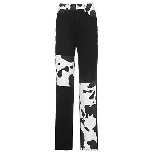 langchao Pantalones de Retazos para Mujer Pantalones Vaqueros de Pierna Recta de Costura Pantalones Casuales de Moda Retro de Cintura Alta