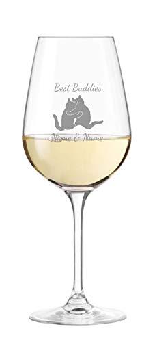 KS Laserdesign Leonardo Weinglas mit Katzen und Spruch '' Best Buddies '' persönliche Gravur - Namen oder Text wählbar, Geschenkidee, Geburtstag, Freundschaft, Weihnachten