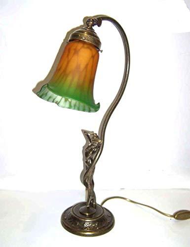 Lampada Liberty tavolo scrivania comodino con SCULTURA DAMINA Ottone Brunito Antico