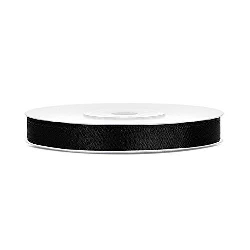 DaLoKu Satinband 6/12/25/38/50/100mm x 25m Geschenkband Schleifenband, Größe: 6mm x 25m, Farbe: Schwarz