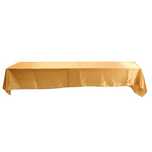 Tischdecke Rechteckige, 145cm x 320cm Tischdecke aus Polyester, Abwaschbar Tischtuch für Abendessen, Tischplatte, Party, Geburtstag, Hochzeiten Dekoration (Gold)