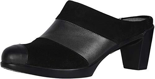 NAOT Footwear Women's Fortuna Black Velvet Nubuck/Metallic Road Lthr/Black Suede/Black Raven Lthr Clog Heel 9.5 M US