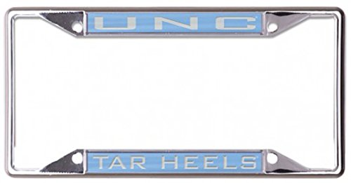 University of North Carolina UNC Tar Heels License Plate Frame, metal with inlaid acrylic, 4 mount holes, blue