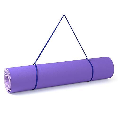 Belleashy Esterilla de yoga MatYoga para ejercicios de fitness con correa de transporte y bolsa de almacenamiento para pilates y ejercicios de piso