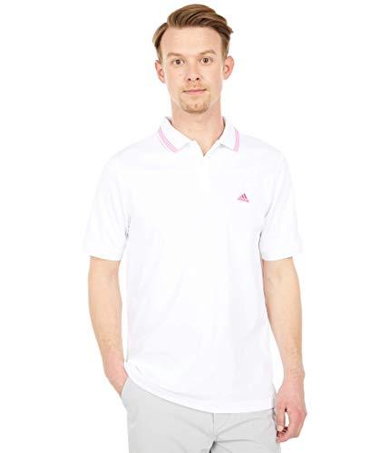adidas Golf Men's Go-to Pique Primegreen Polo Shirt, White/Screaming Pink, Small