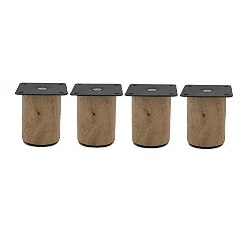 Tetera estilo japonés, 4 patas de sofá de madera maciza, patas de muebles cilíndricas, patas de soporte para gabinetes de taza de té, placa de montaje de acero inoxidable, soporte robusto, altura de 5