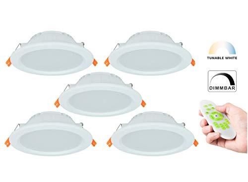 Tunable-White LED Einbaustrahler CCT 3000-6000K, Dimmbar + Farbtemperatur einstellbar, Warm + Neutral + Kaltweiß, IP44 Schutzklasse, 2.4G Funk (5er Set mit Fernbedienung, 9W)