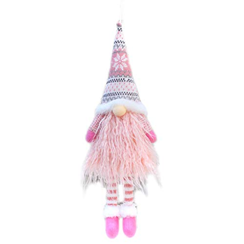 WANGFUFU Handmade Christmas Faceless Doll Decoration Standing Swedish Gnome Tomte Toy - Pink