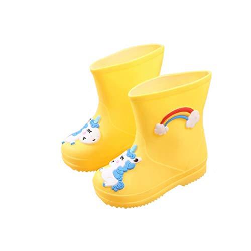 Kinder Gummistiefel Mädchen Regenbogen Leicht Outdoor Wellington Regenstiefel Jungen Einhorn Wasserdicht Rutschfest Unisex Gelb 28