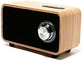 OHHAI Bluetooth Speakers with Super Bass and Subwoofer Bluetooth Speaker Wooden, Portable 3D Stereo Music Sound Speaker with 10-Hour Playtime, Enhanced FM Radio for Home and Outdoor Party