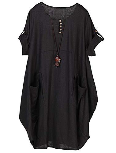 Lavnis  Damen Leinen T-Shirt Tunika Kleid Rundhals Kurzarm Midi Kleid, XXL, Schwarz