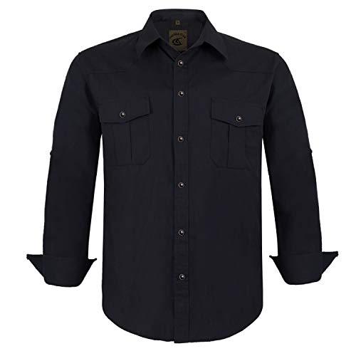 Coevals Club Men's Western Cowboy Long Sleeve Pearl Snap Casual Soild Work Shirts (Black L)