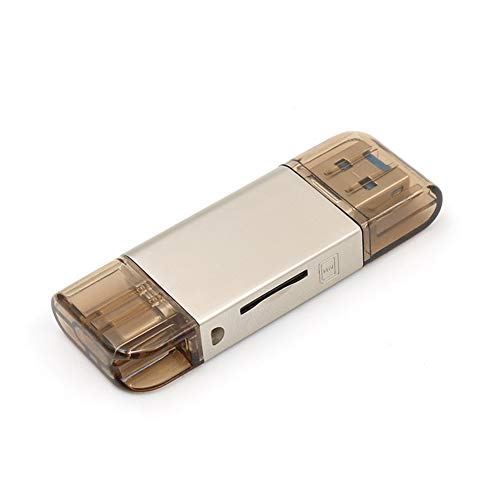 ZXY USB 3.0-Kartenleser, 2 in 1 Typ-C-Computer High Speed Kartenleser Zink-Legierung Material, das kompatibel mit Handys Tablets,A