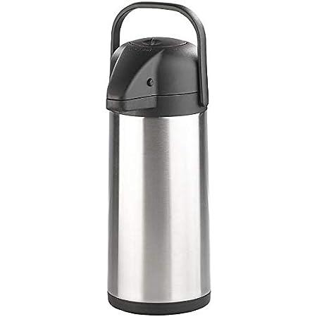 com-four/® 5L Isolier-Pumpkanne 01 St/ück - 5 Liter 5 Liter Airpot aus Edelstahl Doppelwandige Isolierkanne mit Pumpmechanismus