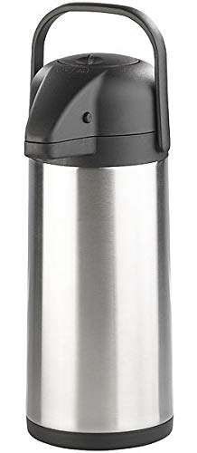 Rosenstein & Söhne Pumpkannen: Doppelwandige Vakuum-Isolierkanne mit Pumpsystem, Edelstahl, 3 Liter (Pumpkrug)