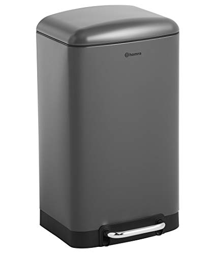 Homra Mülleimer, 30 L, Hochwertiger Edelstahl - 30 Liter Abfalleimer (Anthrazit)