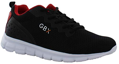 GBX Strike Casual Fashion & Athletic Mesh Running Sneakers for Men, Black/RED, 11 M US
