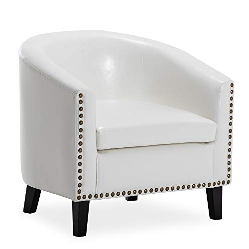 BELLEZE Modern Nailhead Trim Upholstered Tub Barrel Accent Chair Faux Leather, White