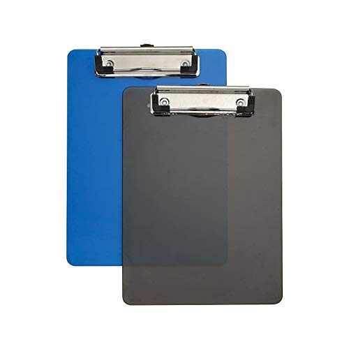 1InTheOffice Clip Board Plastic Memo, Translucent Blue/Translucent Black, 6 x 9 - Small, (2)