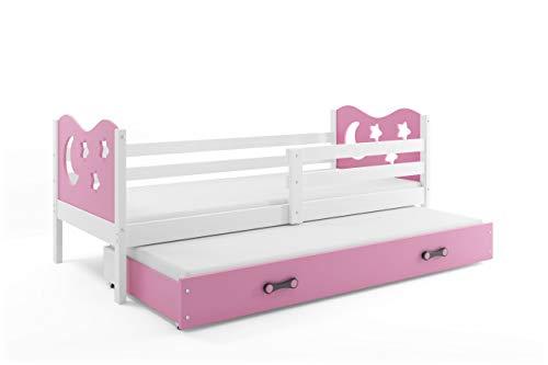 Interbeds Cama Infantil Nido (Doble) Miko 190X90, Blanco (colchones de Espuma, somieres y cajón-Nuevo diseño INCLUIDOS!!) (Rosa)