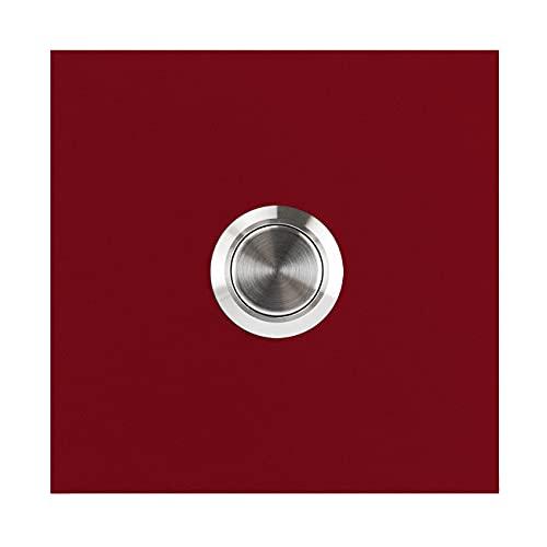 MOCAVI RING 110 Design-Klingel purpur-rot (RAL 3004) matt quadratisch, Klingeltaster Edelstahl, Klingelplatte