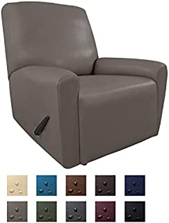 Easy-Going PU Leather Recliner slipcovers, Waterproof Stretch Sofa Covers, 4 Pieces Stretch Furniture Protector, Anti-Slip Elastic Strap Shield Pets Kids Children Cats Dogs(Recliner,Taupe)
