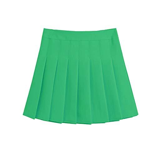 ZHANCHTONG Women's High Waist A-Line Pleated Mini Skirt Short Tennis Skirt (Fruit Green, XS)