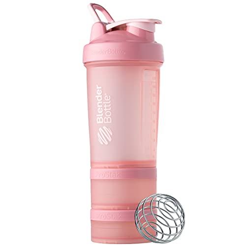 BlenderBottle Shaker Bottle with Pill Organizer and Storage for Protein Powder, ProStak System, 22-Ounce, Rose Pink