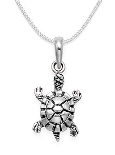 Sterling Silber 925 Halskette mit Anhänger Schildkröte mit 40 cm Panzerkette, Größe: 10 mm x 14 mm in Geschenkbox