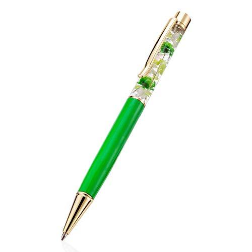 ハーバリウム ボールペン 完成品(替え芯3本付き) (本体:グリーン、花:グリーン)