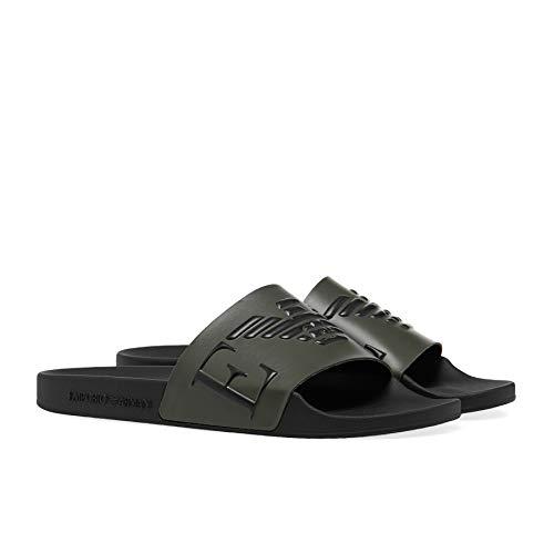 Emporio Armani Herren Swimwear Slipper Monogram Slide Sandal, Military+Black+Black, 43 EU