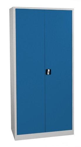 Flügeltürenschrank Schrank blau Stahlblech Lagerschrank Aktenschrank Büröschrank Werkzeugschrank 4 Fachböden/4,5 OH/Maße: 1800x800x380mm 530331 kompl. montiert und verschweißt