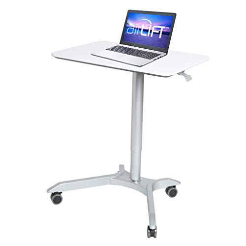 Seville Classics AIRLIFT XL 28' Pneumatic Height Adjustable Sit-Stand Mobile Laptop Computer Desk Cart (27.1' to 41.9' H), White