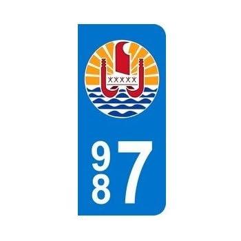 2 Stickers Autocollant style Plaque Immatriculation d/épartement 987 tahiti rond