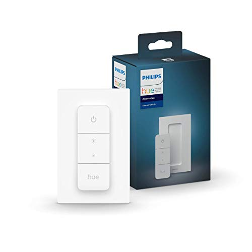 Philips Hue v2 Smart Dimmer Switch and Remote, Installation-Free, Smart Home, Exclusively for Philips Hue Smart Lights (2021 Version), white (562777)