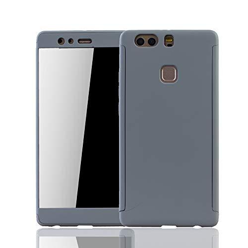 König Design Schutz-Case geeignet für Huawei P9 Plus Hülle mit Panzerglas | Sturzsichere Full Cover Handyhülle in Grau