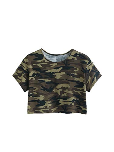 SweatyRocks Women's Casual Short Sleeve Camo Print Cute Crop Top T-Shirt Multicoloured XS
