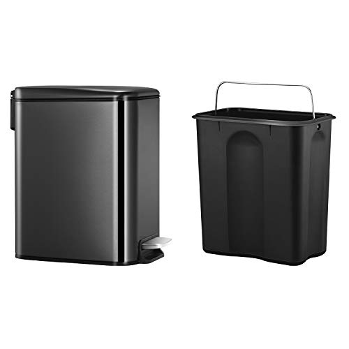 CLTEC Rectangular Slim Small Trash Can with Lid Soft Close and Removable Inner Bin, Black Stainless Steel Trash Can for Bathroom Bedroom Office, Anti-Fingerprint Finish, 5L/1.3Gal