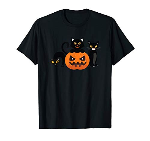 Halloween Cats & Jack-O-Lantern Kürbis Halloween T-Shirt