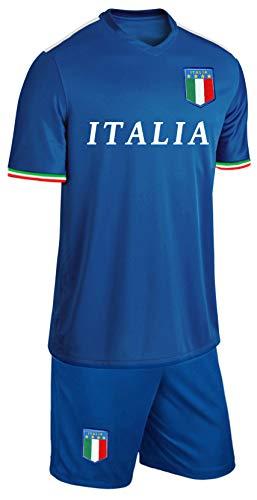 Blackshirt Company Italien Kinder Trikot Set Fußball Fan Zweiteiler Blau Größe 116