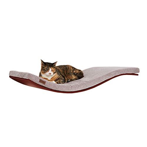 COSY AND DOZY Katze Wandliege Katzenliege | Katzenbett | Holzfarbe Walnuss | Kissenfarbe Soft Cappuccino | 90 cm x 41 cm