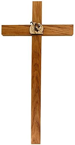 Kaltner Präsente Cadeau-idee – kruis wandkruis kruis van eikenhout 50 cm met heilige familie Jezus kind met Maria en Josef voor muur