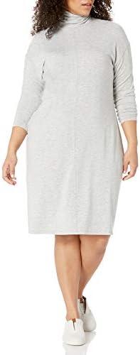 Amazon Brand Daily Ritual Women s Plus Size Long Sleeve Turtleneck Dress 1X Light Heather Grey product image